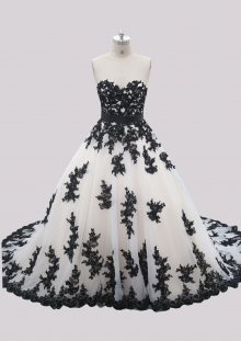 Champagne color ivory Tulle Black Applique Lace A Line Wedding Dress